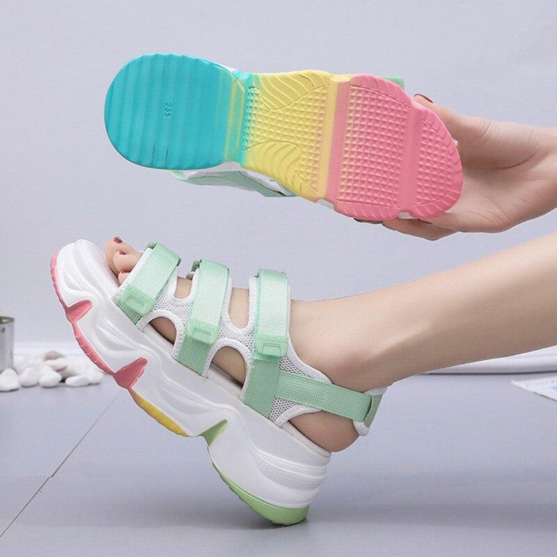 Women Chunky Sandals Designers Brand Summer Beach Casual Shoes Woman White Wedges Ulzzang Fashion Platform Sandal Ladies 2020