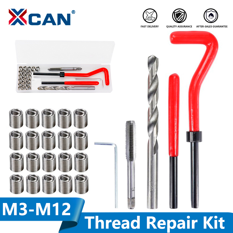 XCAN Thread Repair Tool Kit 25pcs M3 M4 M5 M6 M7 M8 M10 M12 14 for Restoring Damaged Threads Spanner Wrench Twist Drill Bit Kit