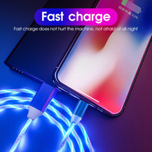 1m Magnetic Charging Mobile Phone Cable USB Type C Flow Luminous Data Wire For Samaung For Huawei P20 P30 LED Micro USB Cable