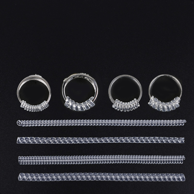 4 Sizes/set Plastic Ring Size Adjuster Insert Guard Tightener Reducer Resizing Fitter Jewelry Tools Acccessories