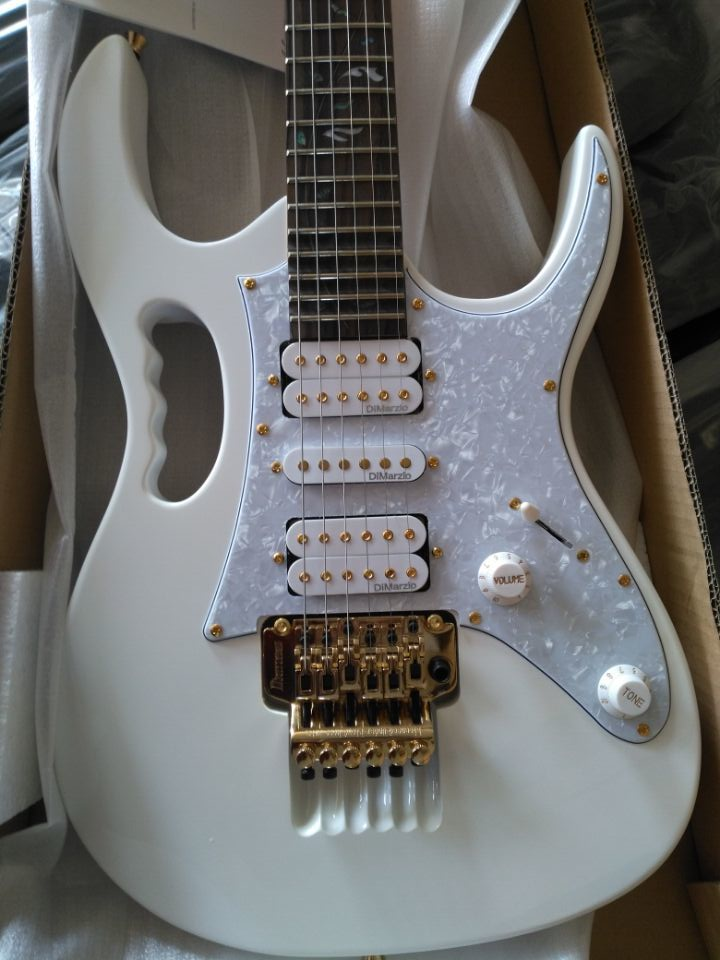 Electric-Guitar Hardware Fretboard Deep-Scalloped Snow-White 24-Frets To Gold Vine Inlays-21 title=