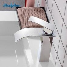 Brand New lucido lavabo lavello rubinetto acqua singola leva rubinetto singolo miscelatore foro ponte montato lavabo bagno rubinetto del bagno
