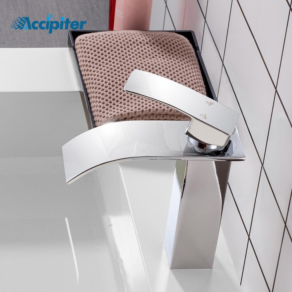 Robinet de cascade de lavabo poli flambant neuf, robinet de cascade de bassin monté sur pont monotrou. Robinet. Mélangeur. WB-003