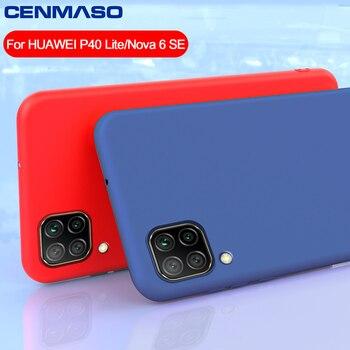 Para Huawei P30 P20 P40 Lite Case Capa de Silicone Líquido Macio para Huawei P30 Pro Mate 20 30 Lite Honor 8X V30 Pro Nova 6 SE
