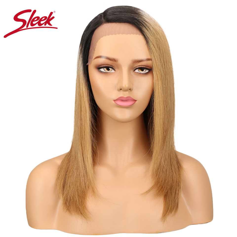 Sleek Lace Front Wigs Peruvian Straight Natural Human Hair Ombre Color 27#/30#/99J Weave Short BOB Remy Hair Wigs парики женские