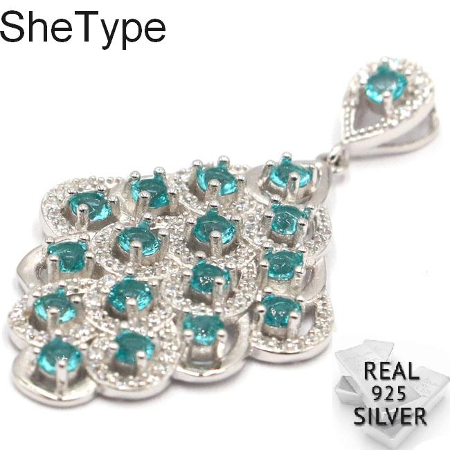 46x24mm Long Big Peacock 5 9g Rich Blue Aquamarine CZ Ladies Wedding 925 Solid Sterling Silver Pendant in Pendants from Jewelry Accessories