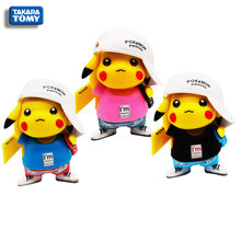 3 Colors Pokemon Wearing Hat Pikachu Japanese Cartoon Character Model Toy Classic Collection Kids Gift