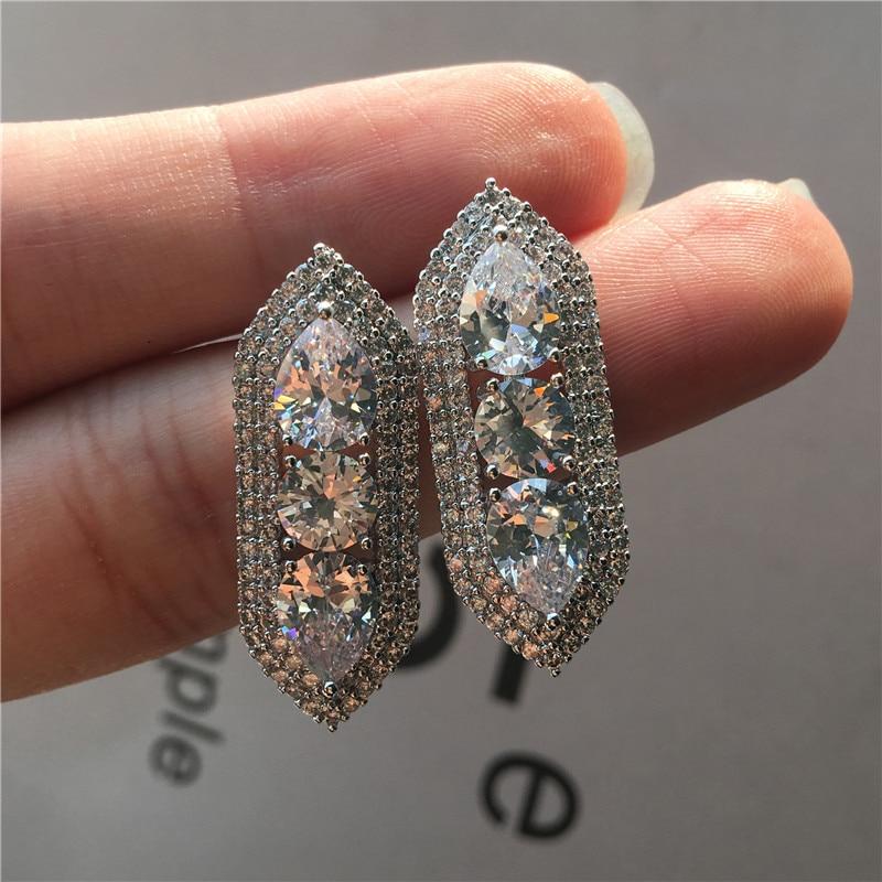 Vintage Female White Zircon Stone Earrings Classic Silver Color Stud Earrings Charm Bridal Rounnd Wedding Earrings For Women