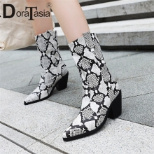 DORATASIA New Fashion Plus Size 31-46 Snake Veins Mid Calf Boots Ladies Chunky Heels Pointed Toe Shoes Woman Party Boots Women original intention new gorgeous women mid calf boots pointed toe metal thin heels boots black red shoes woman us size 4 10 5