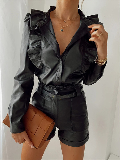 CHRONSTYLEShirts Autumn Women Black PU Leather Ruffles Shirts Fashion Formal Female V-neck Long Sleeve Button Up Blouse Tops
