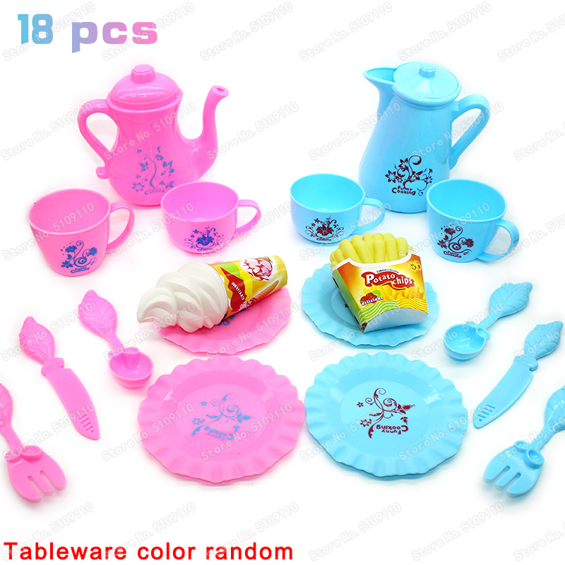 18PCS Kitchen Toys Tableware Mini Cute Coffee Tea Set Pretend Play Diy Kitchen Toys For Children Christmas Gift Girls Toys