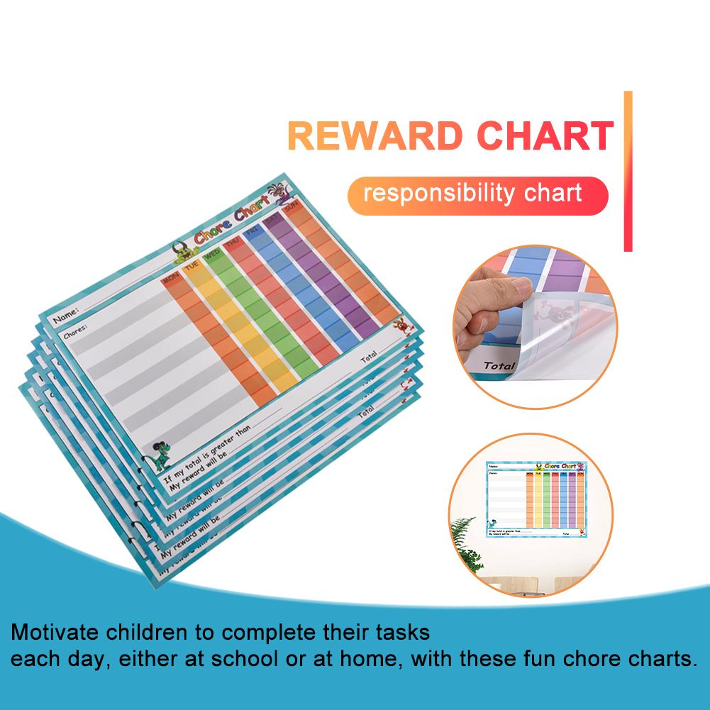 Chore Chart - 6-Pack Dry Erase Reward Chart For Kids Reusable Self-Adhesive Potty Chart For Home And Classroom, 14.5 X 11 Inches