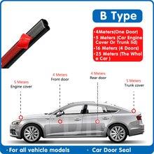 Tira de sellado de goma para puerta de coche, pegatina de sellado de puerta tipo B, aislamiento acústico, burlete en forma de B, tiras de goma para sellado de maletero de coche