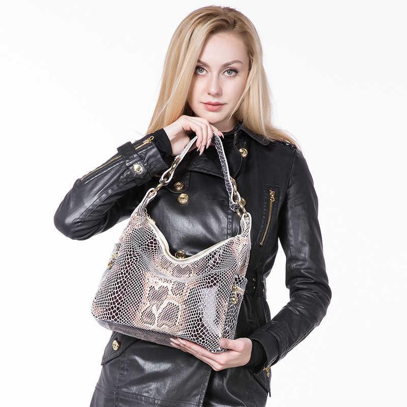 REALER frau handtaschen aus echtem leder tote weibliche klassische serpentin drucke klassische schulter umhängetaschen damen umhängetasche