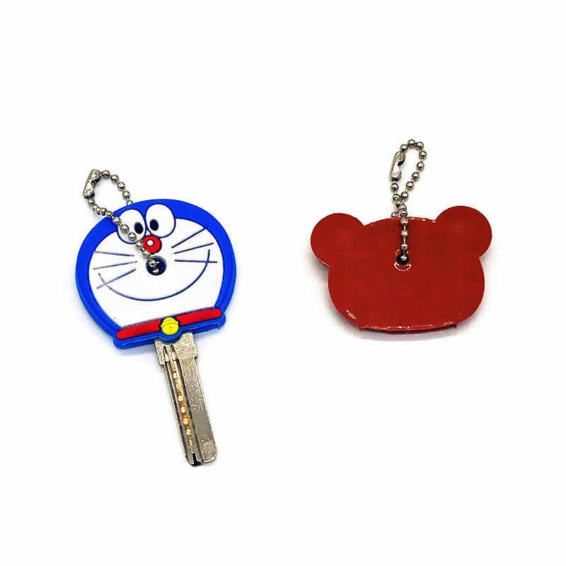 2 pçs/set Bonito Dos Desenhos Animados Garfield Silicone Chave de cadeia Para Mulheres/Homem Anel Titular da Chave de Chave Tampa Do teclado Chave Tampas Caçoa o Presente Do Partido