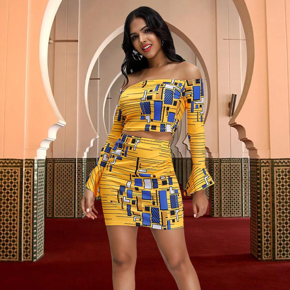 Fadzeco New African Clothes For Women Autumn Fashion  One Word Collar Ruffled Sleeves Print Two-piece Set Top With Short Skirt