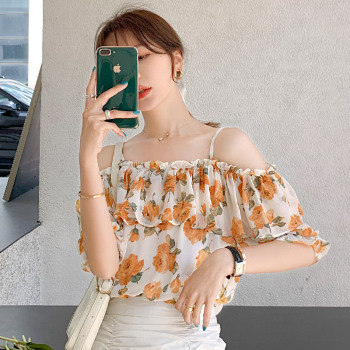 цены Women Beach blouse Sexy Fashion Floral Print top Off Shoulder Blouses Short Sleeve Shirts Chic Tops ka946