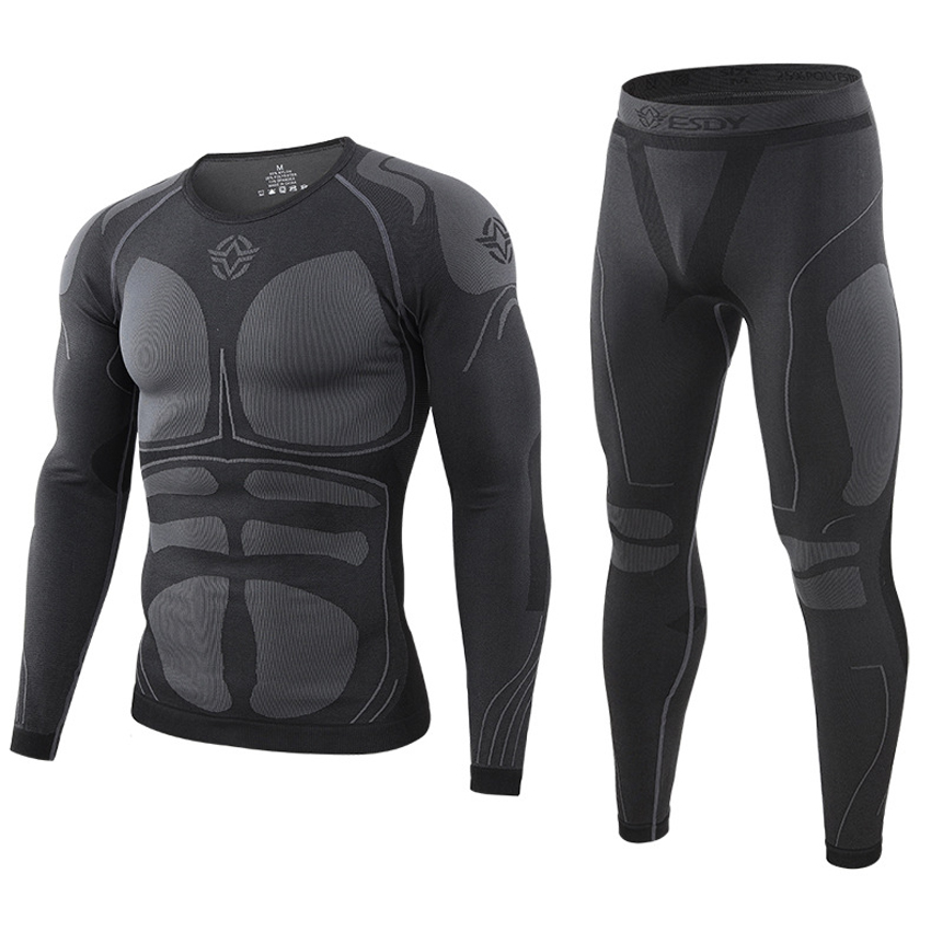 ESDY Autumn Winter Men Thermal Underwear Set Quick Dry Anti-microbial Stretch Suit Thermo For Hiking Camping Male Clothing VA720