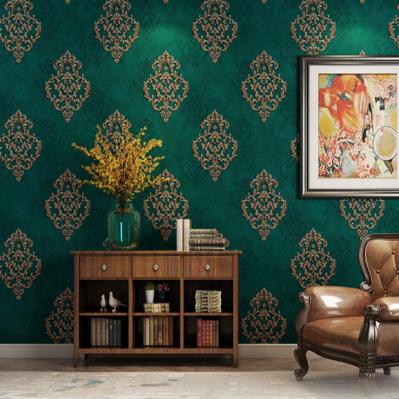 European 3D Embossed Wallpaper Luxury Gray Beige Peacock Green Non-woven Wall Paper Living Room Home Background Wall