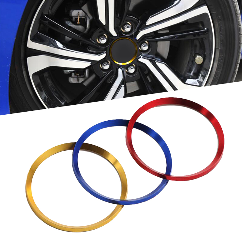 4pcs Alloy <font><b>Wheel</b></font> <font><b>Center</b></font> Hub Ring Decorator Caps <font><b>Cover</b></font> Trim Gold /Red/Blue Color For Honda Civic 10th 2016 2017 2018 <font><b>Car</b></font> Styling image