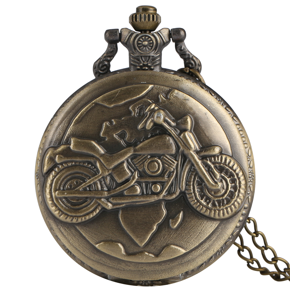 Hot Sale Style Vintage Old Antique Motorcycle Quartz Pocket Watch Analog Pendant Best Gift Clock With Necklace