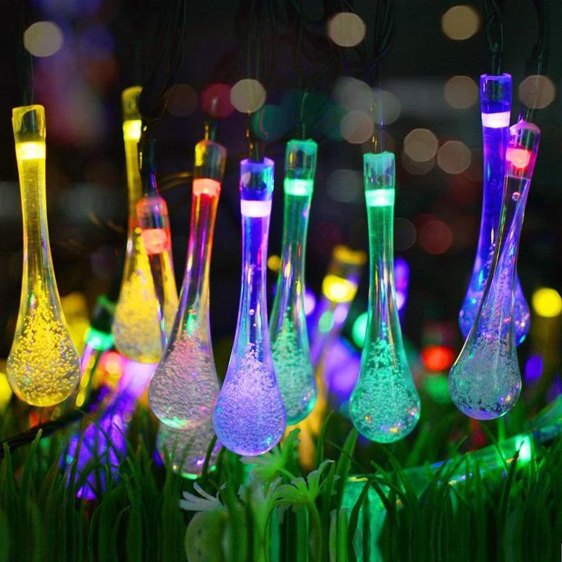 6.5M 30 LED Solar Bulb Light String Droplet Bulbs Fairy String Light For Outdoor Garden Lawn Solar Lights Home Party Light Decor