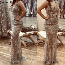 Серебристые роскошные сексуальные платья для выпускного вечера с глубоким v образным вырезом, 2020, с открытой спиной, расшитые блестками, с бриллиантами, вечерние платья русалка, Serene hilm BLA70228