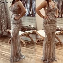 Serenhill robe de bal de forme sirène, luxueuse, décolleté en V, robe de soirée, dos nu, sequins, argent, BLA70228, 2020