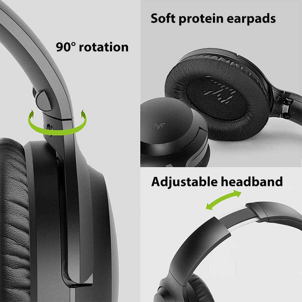 Avantree Active Noise Cancelling Hoofdtelefoon met Mic 35H Draadloze Bedrade ANC Over Ear Headset voor Vliegtuig Reizen - 3