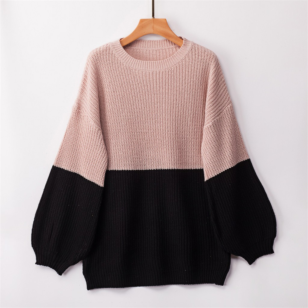 Women Knitt Patchwork Sweters Long Sleeve O-Neck Sweater Pullover Tops Female invierno 2019 chompas para mujer