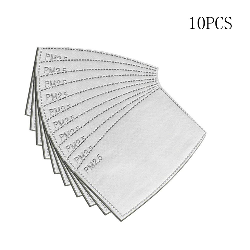 10pcs PM2.5 Activated Carbon Filter Face Mask Breathing Insert Protective Mouth Mask Filter Anti-Dust Smoke Gas And Allergies