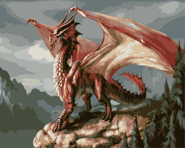 Painting By Numbers Red Dragon Mythical Beasts