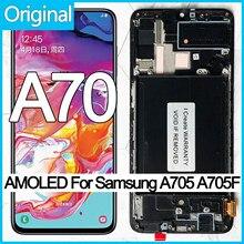 Original 6.7 super super super amoled display lcd para samsung galaxy a70 lcd a705 a705f SM-A705MN tela de toque digitador assembléia
