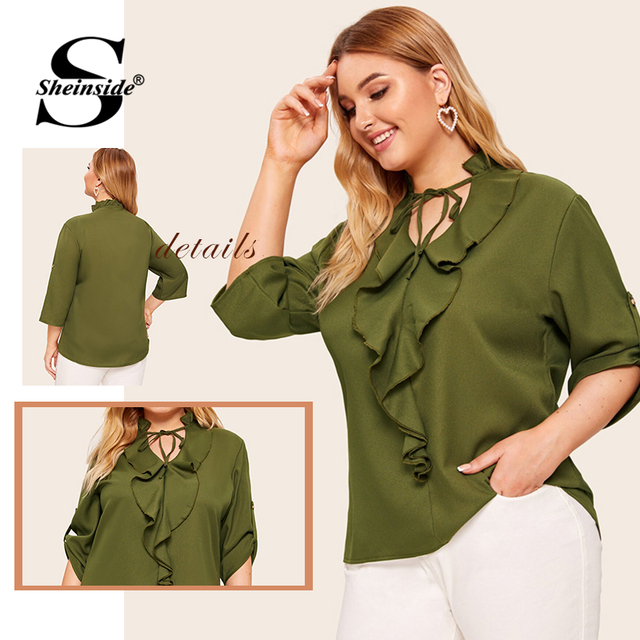 Sheinside Plus Size Casual Army Green Lace Up V Neck Blouse Women 2019 Autumn Roll Up Sleeve Blouses Ladies Ruffle Trim Top 5