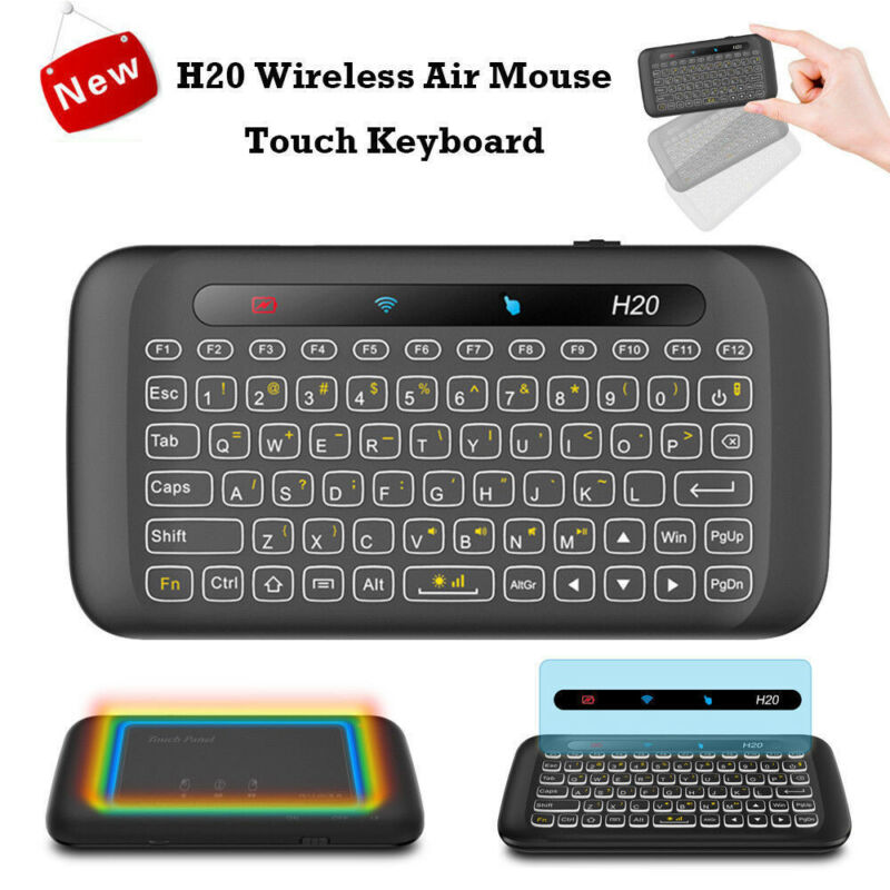 2020 H20 2.4GHz Wireless Keyboard USB Full Screen Touchpad With Backlight Function