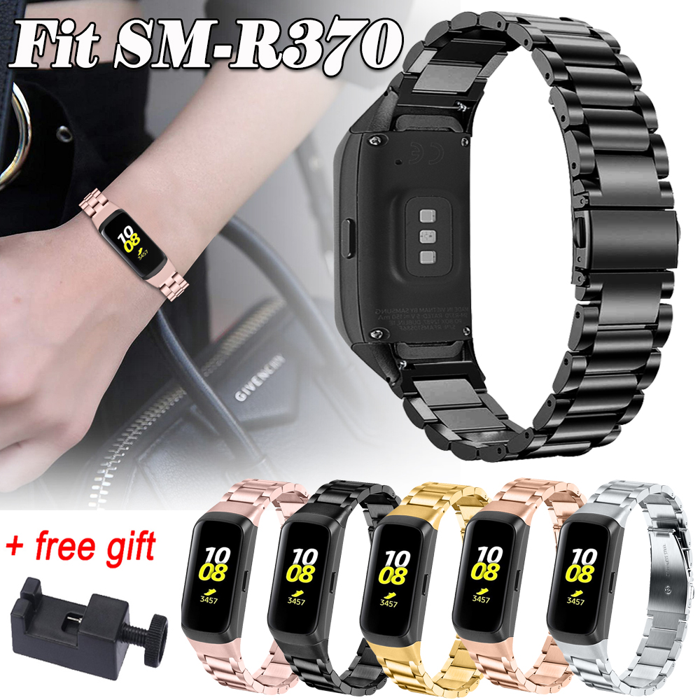 For Samsung Galaxy Fit SM-R370 Stainless Steel Strap Band Wristband Watchband Replacement Metal Bracelet With Disassembly Tool