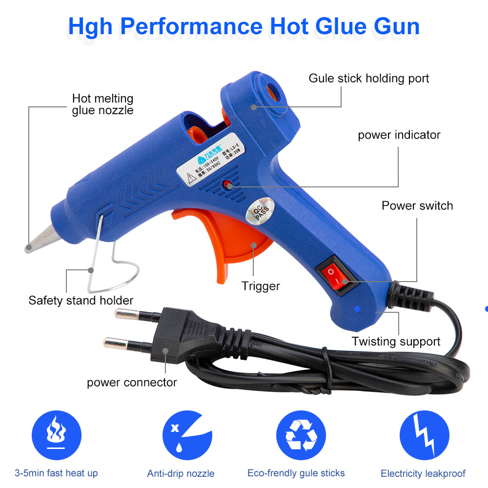 Image 4 - 20w Hot Glue Gun Set With Glitter Stick Glue Gun 7*100mm Hot Melt Adhesive Sticks Rod For Gun Glue Craft Repair DIY-in Hot Melt Glue Sticks from Tools on