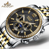 イソップブランド男性腕時計メンズ高級自動機械式腕時計腕時計スチールバンド男性時計レロジオ masculino hodinky 新 9017 グラム|機械式時計|   -