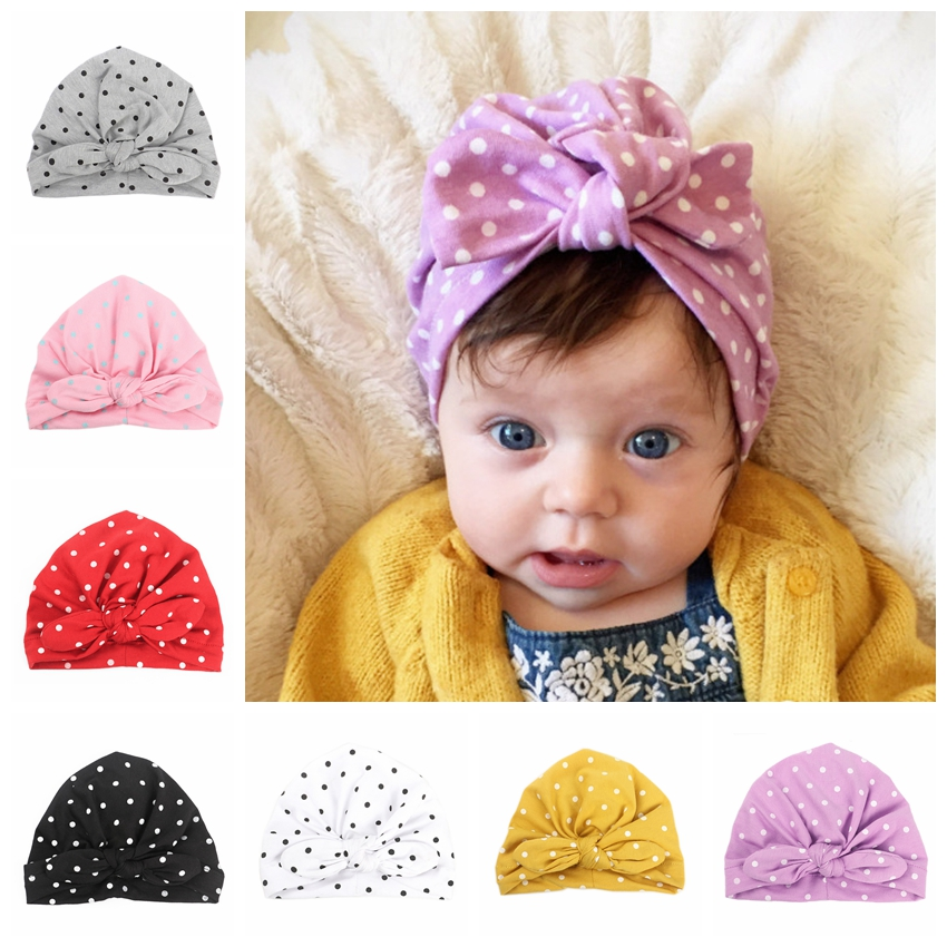 New Sweet Dot Baby Girls Caps With Bowknot Beanie Spring Autumn Newborn Turban Hats Kids Hair Accessories Birthday Gift