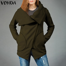 VONDA Womens Autumn Winter Clothes Warm Jackets Stylish Slant Zipper Collared Coat Lady Clothing Female Plus Size S-5XL
