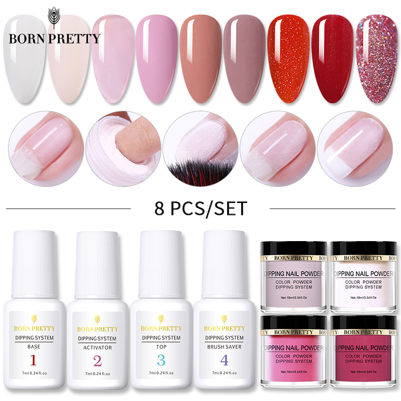 BORN PRETTY 8Pcs Dipping Nail Powder Set Nude Pink Series Holographics Dip System Powder Dust Natural Dry Nail Art Decorations