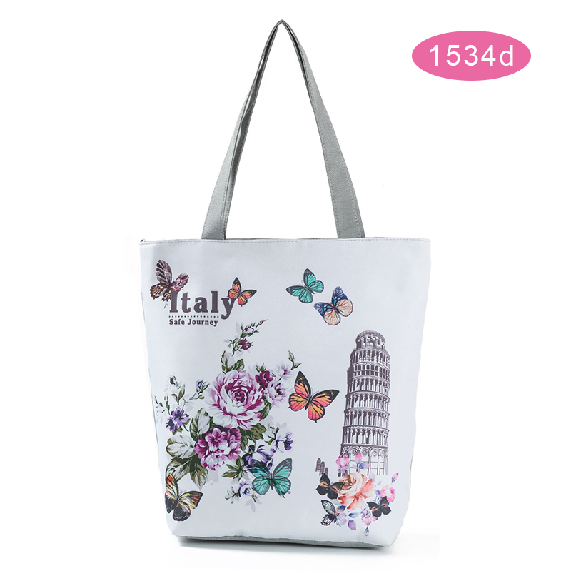 New Design Handbags Women Bags Designer Floral Printed Tote Handbag Female Large Capacity Canvas Shoulder Bag Summer Beach Bag