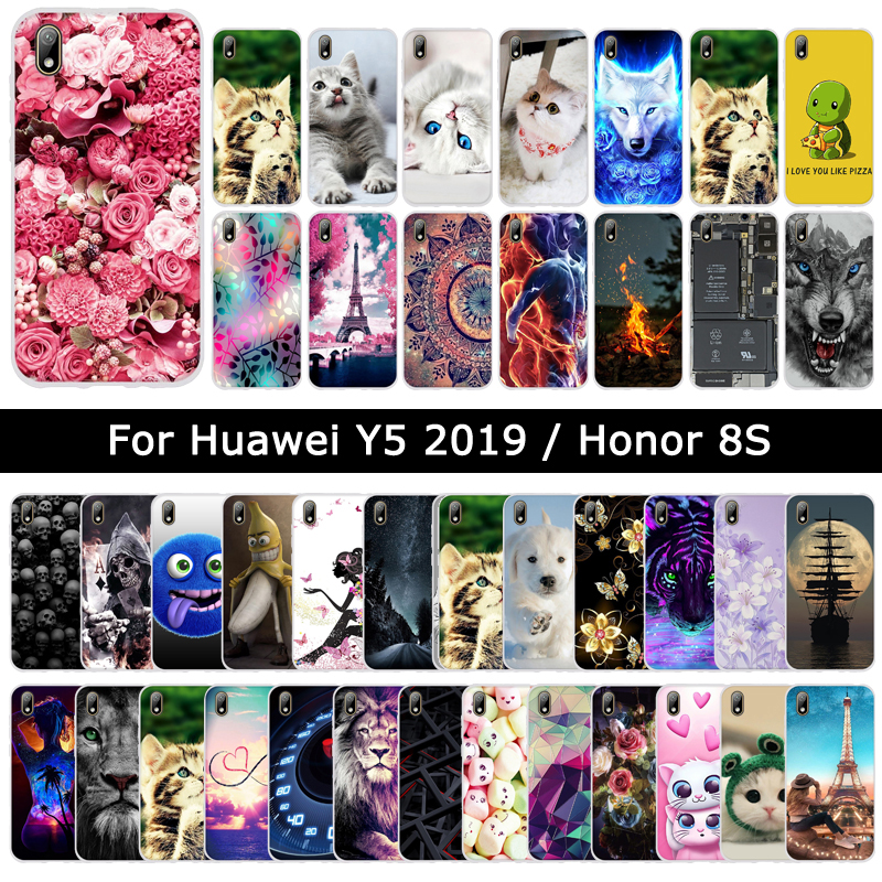New Fashion Case For Huawei For Huawei Y5/Honor 8s 2019 Soft Silicone TPU Animal Cat Cover For Honor8s Phone Shells Cases Coque