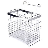 Stainless Steel Hanging Chopstick Cage Reinforced Kitchen Supplies Cutlery Storage Tool Square Can Be Drain Racks|Racks & Holders| |  -