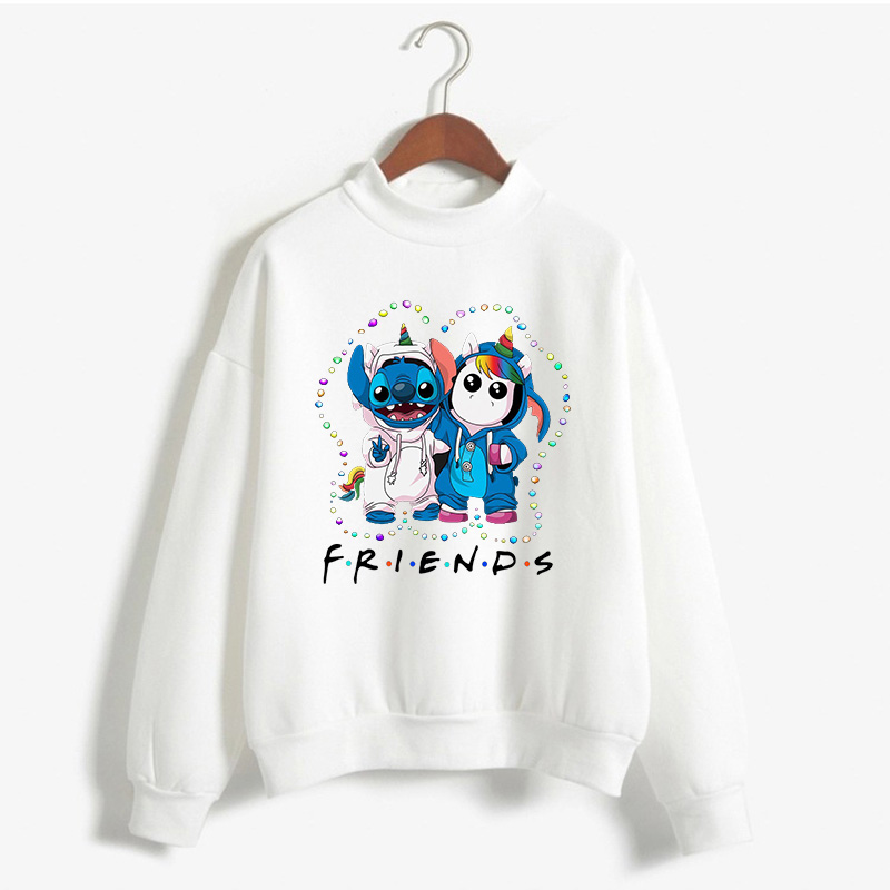 Lilo Stitch And Unicorn Friends Light Christmas Pullover Women Harajuku Sweatshirt Aesthetic Tops Camiseta 2019 Couple Clothes