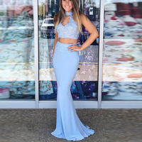 Two Pieces Prom Dresses High Neck Appliques Beaded Lace Up Back Mermaid Evening Gowns Chiffon Girl Party Dress for Gruduation