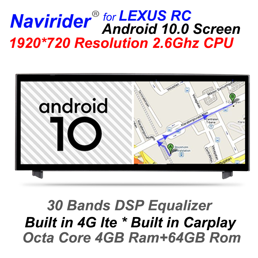 4GB RAM Android 10 Auto Multimedia Audio Kopf Einheit <font><b>F</b></font>ür Lexus RC <font><b>F</b></font> Sport 200t RC300 2016 RC200t RC350 Touch Screen GPS Navigation image