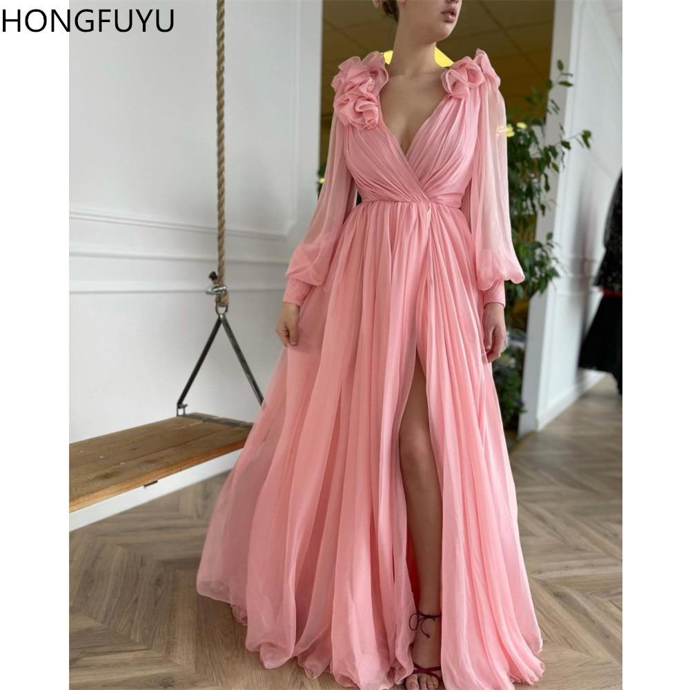 HONGFUYU Chiffon Long Sleeve A-line Prom Party Dresses vestidos de fiesta de noche Ruffle Shoulder Evening Gowns вечерние платья