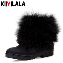 купить Kiiyilala Natural Fur Snow Boots Women Slip-on Warm Plush Flat Heel Ankle Boots Shoes Woman Non-slip Winter Boots Women Big Size в интернет-магазине