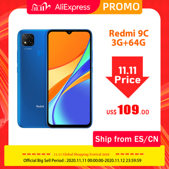 "Global Version Redmi 9C 3GB 64GB Cell Phone MTK Helio G35 13MP AI Triple Camera 6.53"" HD Display 5000mAh Big Battery Octa-core"